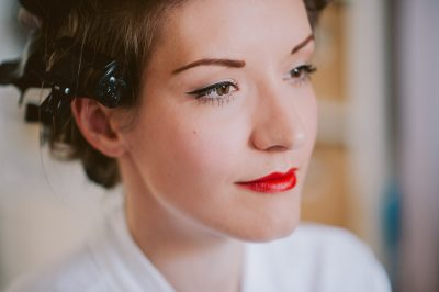 Brighton Bandstand Seaside Wedding - red lips