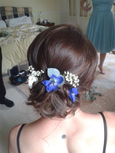 rustic messy bun flowers