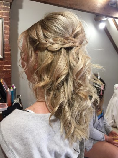 tousled half up half down wedding